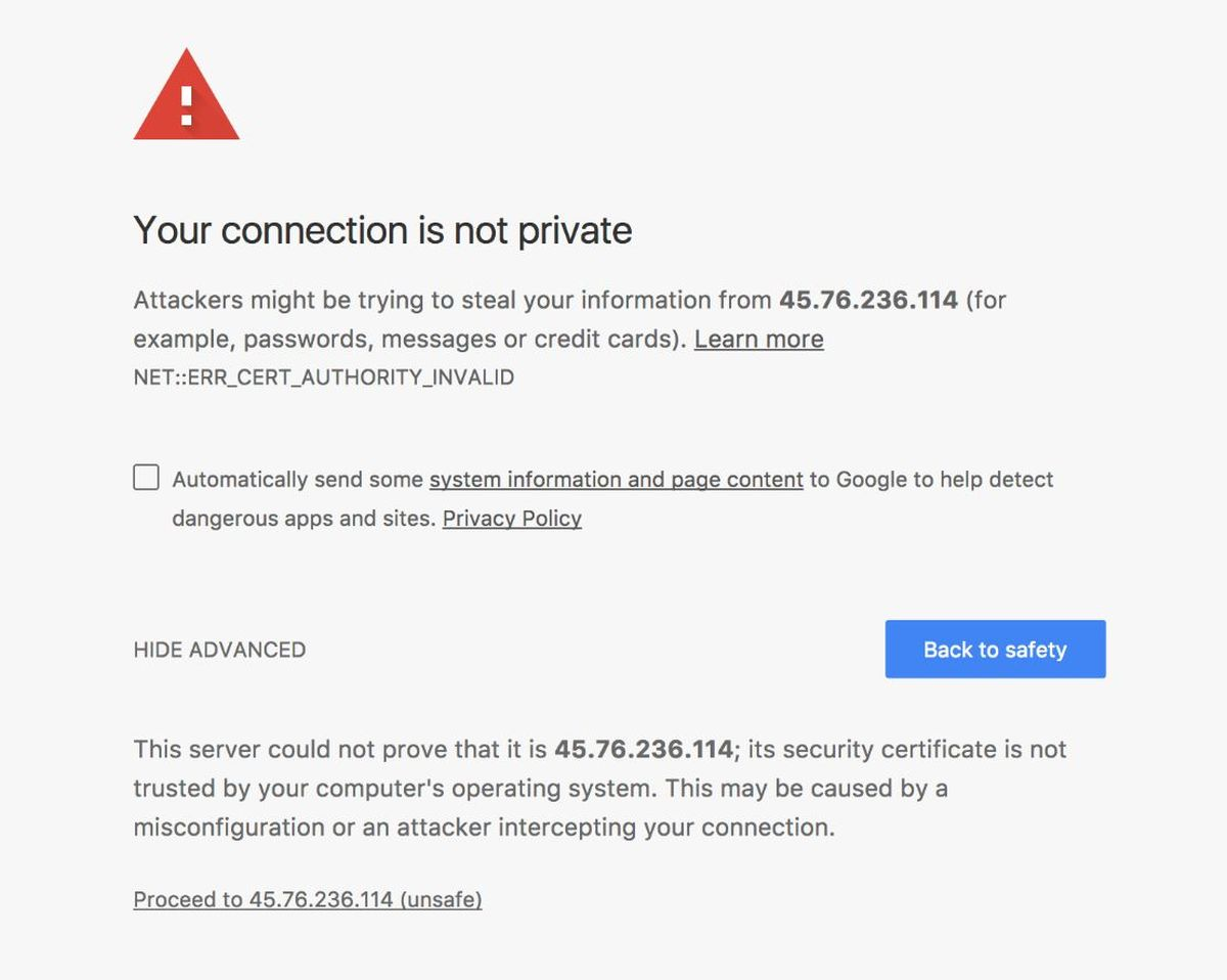 proceed ssl error